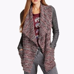 Lucky Brand Red and Gray strip cardigan